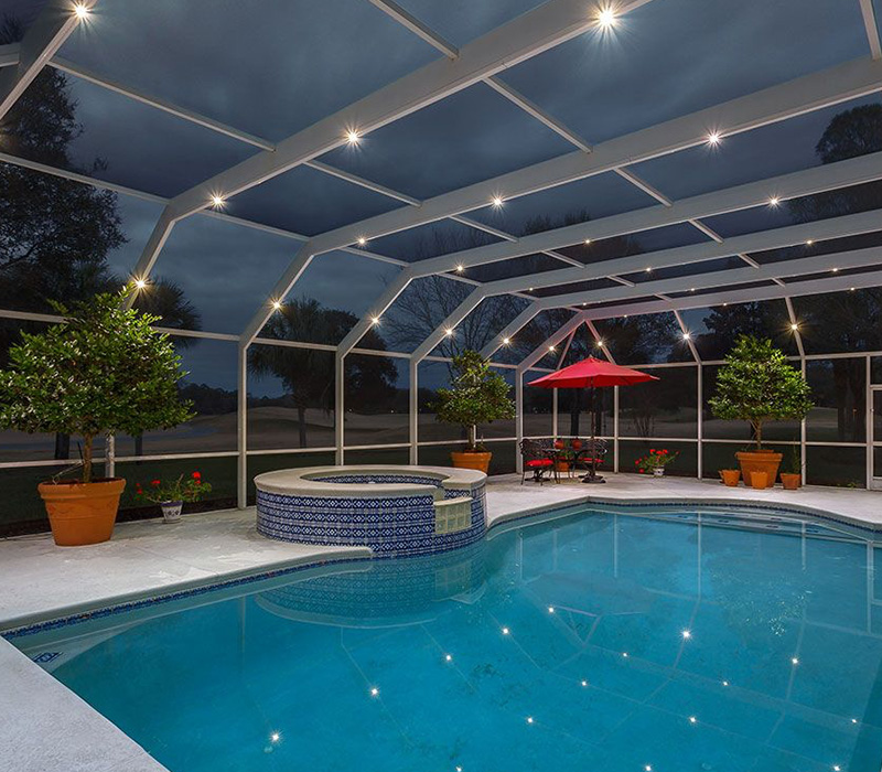 pool enclosure with Nebula light